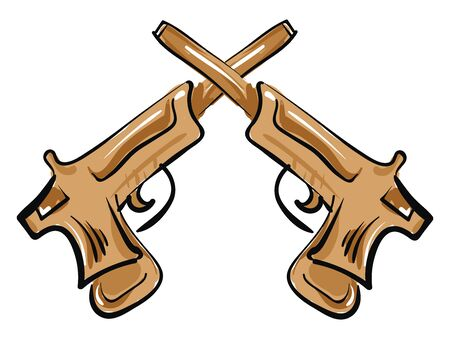 Two brown wooden pistols crossed together, vector, color drawing or illustration.