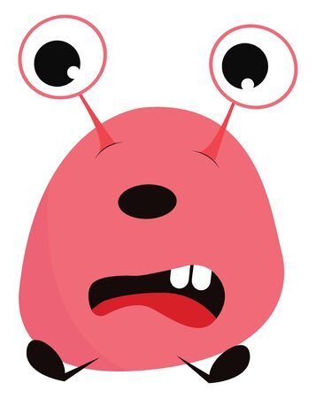 A cute little pink monster sitting down with long eyes and two teeth in front, vector, color drawing or illustration.
