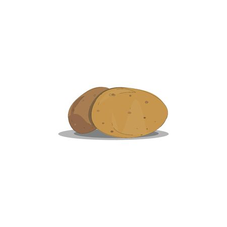 Two potatoes; light brown and dark brown, vector, color drawing or illustration. Иллюстрация