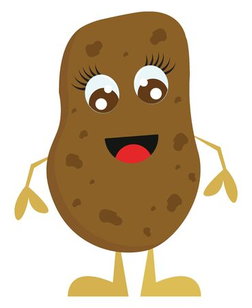 A brown smiling potato with long arms, vector, color drawing or illustration.