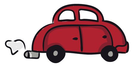 A red car with two doors and two windows and smoke coming out of the rear, vector, color drawing or illustration.