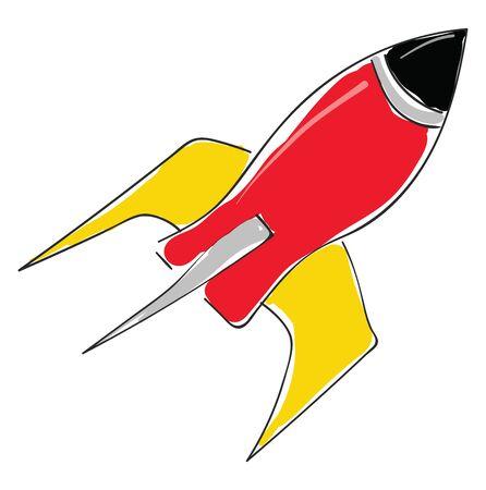 A red rocket with yellow fins and a black cockpit, vector, color drawing or illustration. Ilustração