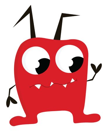 A cute little red monster with horns drooping down, vector, color drawing or illustration.