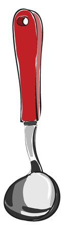 A silver spoon with a red handle, vector, color drawing or illustration.