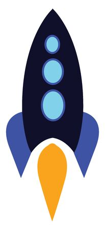 A white rocket with one window blasting off, vector, color drawing or illustration. 向量圖像