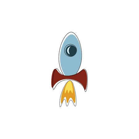 A silver rocket with red fins and flames coming out the bottom, vector, color drawing or illustration.