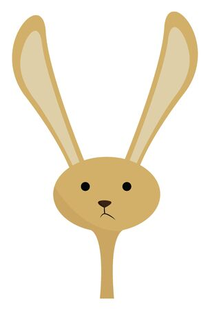 A cute little rabbit with long ears raised up, vector, color drawing or illustration. Çizim