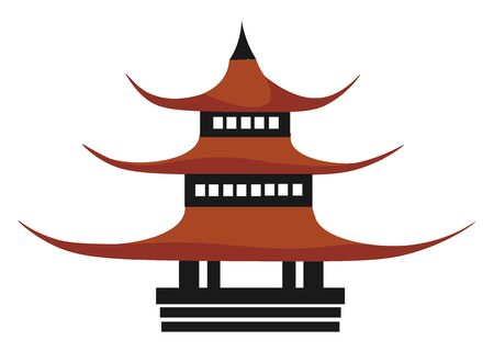 A big red pagoda house with three floors, vector, color drawing or illustration.