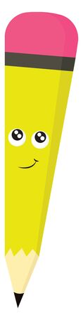 A smiling happy pencil with a pink eraser, vector, color drawing or illustration.