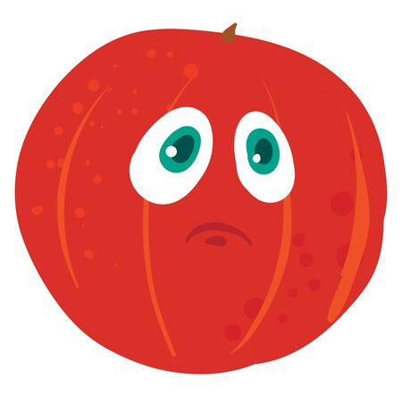A red sad grapefruit with green eyes, vector, color drawing or illustration.