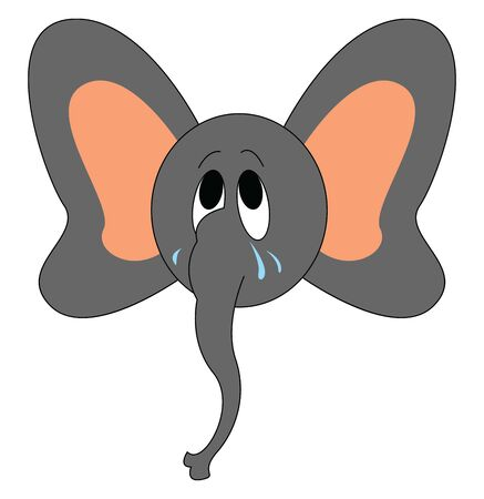 A sad baby elephant with tears falling down its cheeks, vector, color drawing or illustration. Ilustração