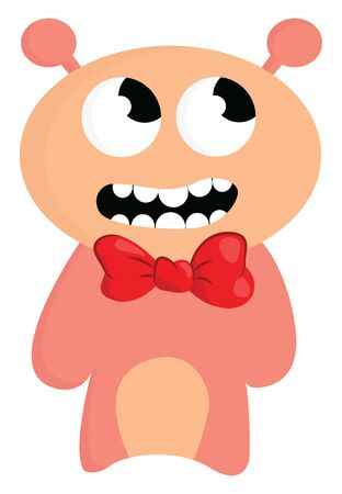 A cute pinkish monster with a red bow looking up, vector, color drawing or illustration.