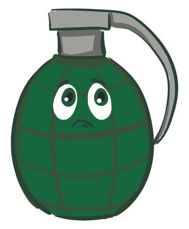 A sad dark green grenade with a silver pin, vector, color drawing or illustration.