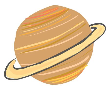 An illustration of Saturn with light brown rings, vector, color drawing or illustration.