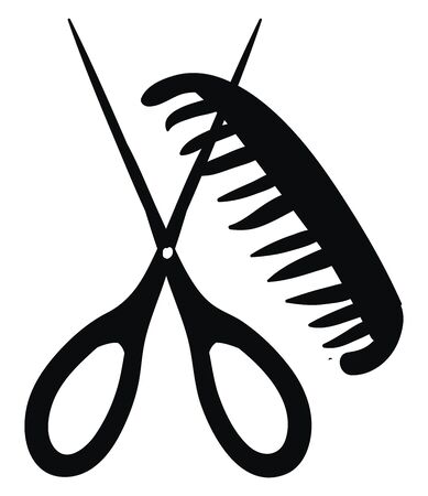 A sketch representation of a comb and a pair of scissors, vector, color drawing or illustration.