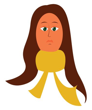 A woman with long hair wearing a long yellow scarf, vector, color drawing or illustration.