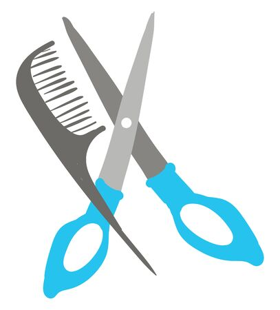 A pair of scissors with blue handle and a comb, vector, color drawing or illustration.
