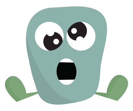 A cute little blue monster with confused eyes sitting down, vector, color drawing or illustration.