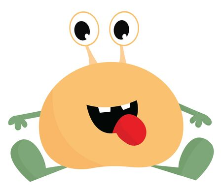 An orange monster sitting down with green hands and feet, vector, color drawing or illustration. Illustration