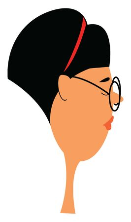 A woman with short black hair wearing round black glasses and a red headband, vector, color drawing or illustration. Ilustração