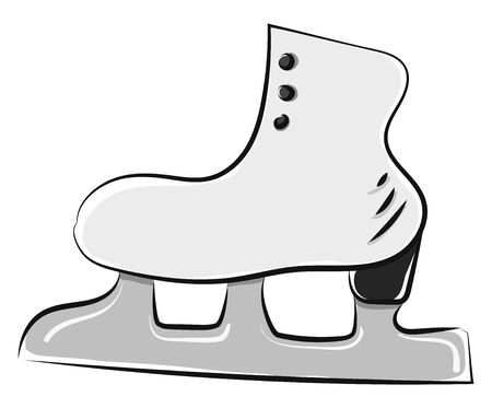 A single white ice skate with silver blade, vector, color drawing or illustration.