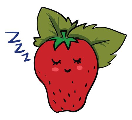 A ripe red strawberry with a green leaf sleeping, vector, color drawing or illustration.