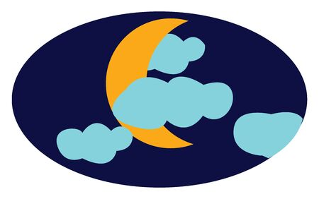 A yellow crescent moon behind blue clouds in the dark night sky, vector, color drawing or illustration.