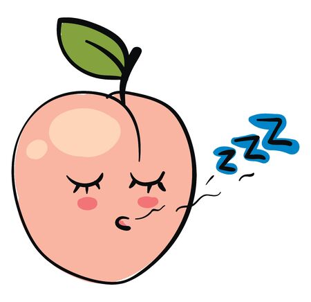 A cute little apricot pod sleeping, vector, color drawing or illustration. Ilustrace