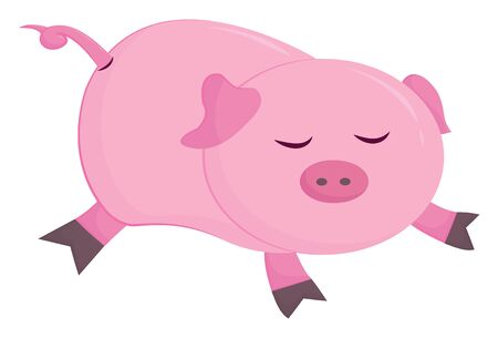 Cute little cartoon piggie has a short tail, and ears, black claws and with its mouth closed is sleeping while lying over isolated white background, vector, color drawing or illustration. Archivio Fotografico - 132772521