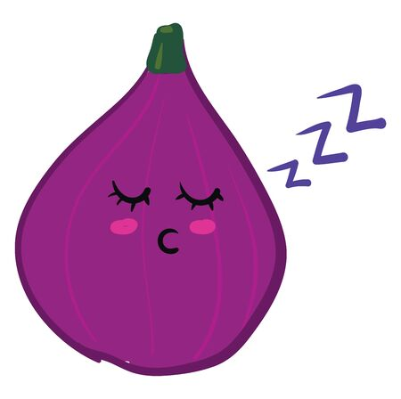 A cute little purple fig sleeping, vector, color drawing or illustration. Banque d'images - 132772542