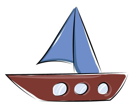 Painting of a small boat with the stem and hull in brown color, jib, and mainsail in blue color, is ready to sail across the sea carrying passengers, vector, color drawing or illustration.  イラスト・ベクター素材