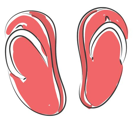 Pair of red-colored opened toe unisex indoor slippers that adapts to feet and is more comfortable and softer to wear than the traditional slippers, vector, color drawing or illustration.  イラスト・ベクター素材