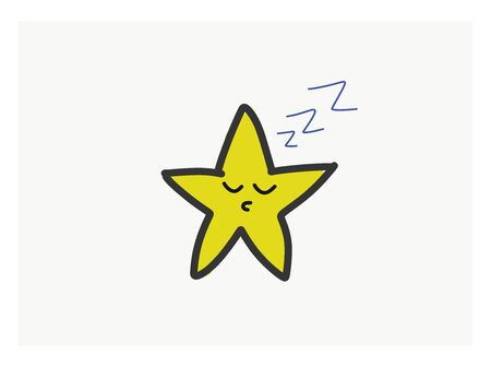 Drawing of the yellow five pointed star snoring with its eyes closed while sleeping over isolated white background viewed from the front, vector, color drawing or illustration. Ilustração