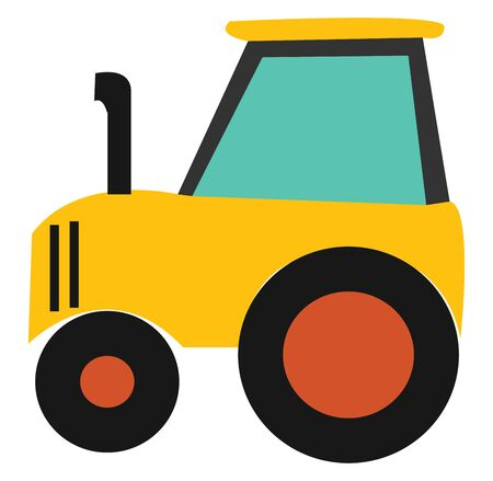 A small yellow-colored tractor with a black front exhaust pipe, driver's cabin blue glass windows, and with different-sized tires, vector, color drawing or illustration. Banque d'images - 132677926