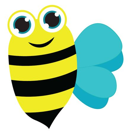 Painting of a bee with black longitudinal stripes on its oval-shaped yellow body and blue wings is smiling, vector, color drawing or illustration.