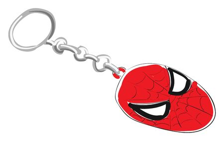 Clipart of a red-colored spider man key chain with enamel single-sided holes and a silver ring to hold for cycle, car or bike, vector, color drawing or illustration. Illustration