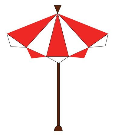 Clipart of an appealing red striped solar umbrella with a brown-colored pole and a sturdy base, vector, color drawing or illustration.