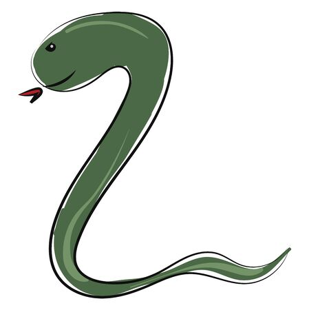 Cartoon coiled black snake with a forked tongue with tongue stuck out, and body is coiled up as if to strike, vector, color drawing or illustration.