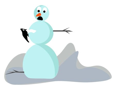 Clipart of a cute little snowman with its eyes rolled down surprisingly looks on the black-colored bird perched in its arms looks lovely, vector, color drawing or illustration. Illustration
