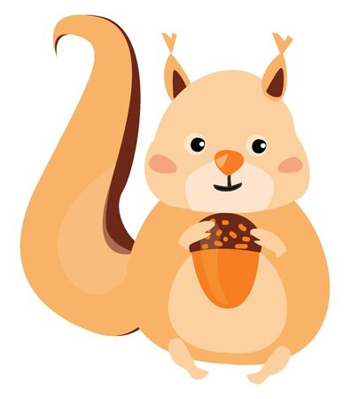 Cartoon picture of a brown squirrel with a fluffy tail holds an acorn and has a closed smile turning to the cheek while sitting and enjoying it, vector, color drawing or illustration.