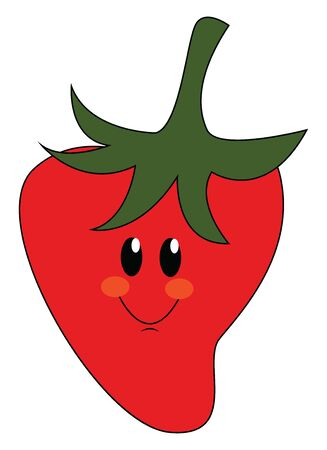 Emoji of the smiling sweet red strawberry topped with a green stalk used to décor homes, cakes, ice creams, and, undoubtedly, for the pleasure of eating, vector, color drawing or illustration. Ilustração