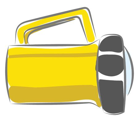 Clipart of a yellow-colored spot light with smart designs and a reflector for brighter light generates focused spotlight when the switch button is turned on, vector, color drawing or illustration.