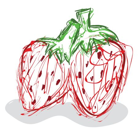 Child sketch drawing of a couple of red strawberries with stout green stalks stands beside each other, vector, color drawing or illustration.