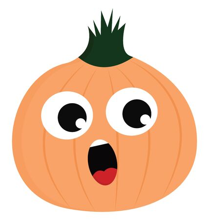 Emoji of a brown onion topped with the green foliar stem has two eyes rolled to the left and tongue stuck out while looking surprisingly, vector, color drawing or illustration.