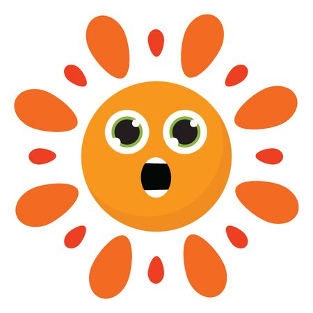 Clipart of the astonished hot burning sun has few orange spikes surrounding the inner circular yellow disc with two green eyes and a mouth, vector, color drawing or illustration.