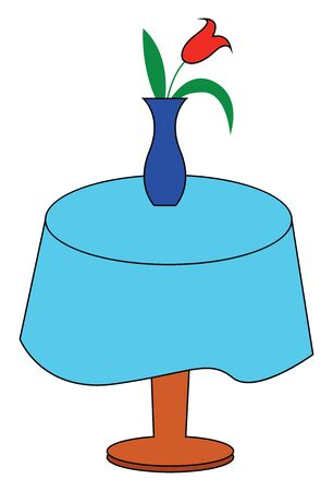 Flower vase ornament displaying red tulips over a circular wooden table covered with a blue tablecloth enhance the existing decor of any room in the home, vector, color drawing or illustration.