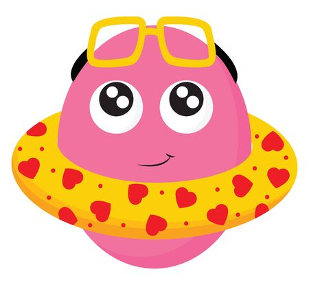 Clipart of a smiling pink monster in a yellow life buoy and yellow sunglasses on the head warms himself while swimming in the hot summer, vector, color drawing or illustration.  イラスト・ベクター素材