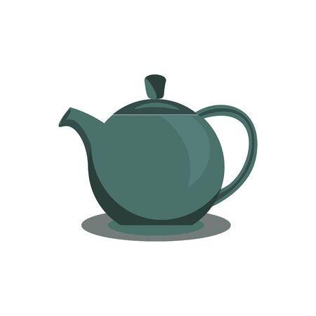 Clipart of a green-colored kettle equipped with a lid, a spout, a handle to carry easily, vector, color drawing or illustration.