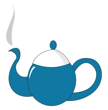 Clipart of a blue-colored kettle equipped with a white lid, a spout, a handle to carry easily contains a hot steaming drink, vector, color drawing or illustration.