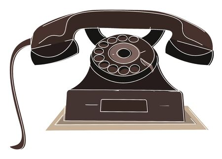 Old days rotary dial brown working telephone serves as the decoration piece to the home and a comprehensive landline to communicate with the loved ones, vector, color drawing or illustration.